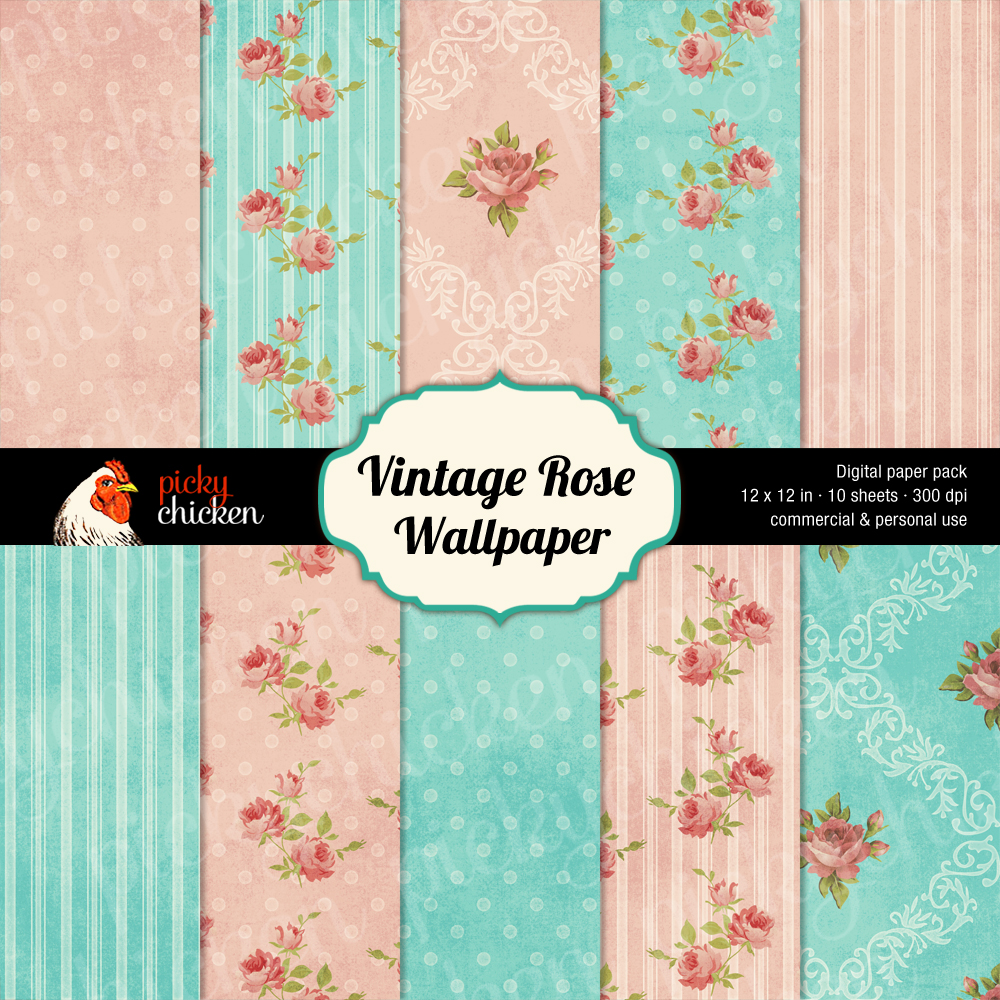 Vintage Rose Wallpaper at pickychicken.etsy.com