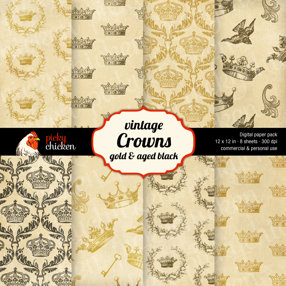 Royal Crowns digital paper at pickychicken.etsy.com