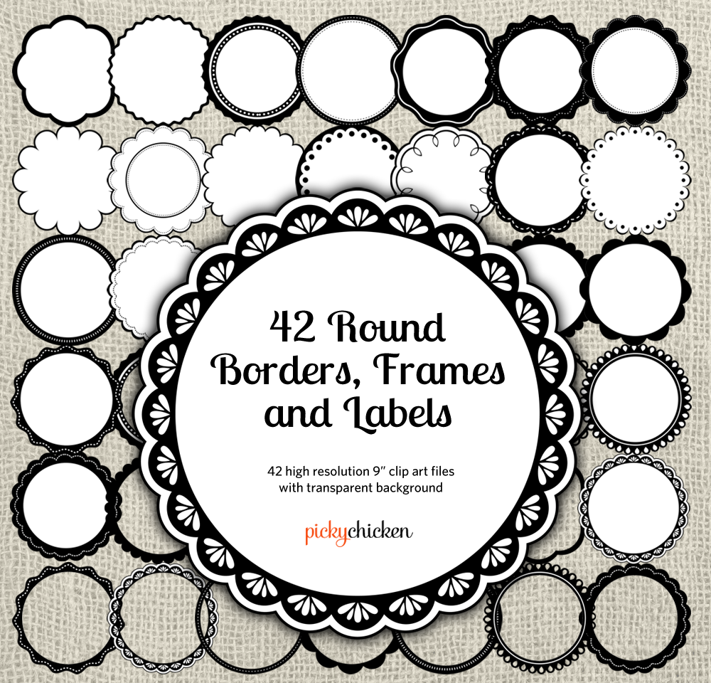 New On Etsy Round Borders Frames Amp Labels