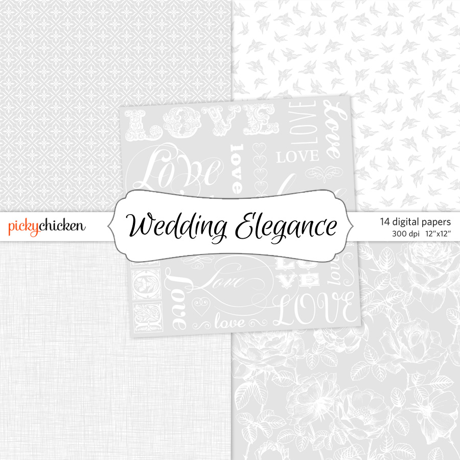 PickyChicken Wedding Elegance digital paper