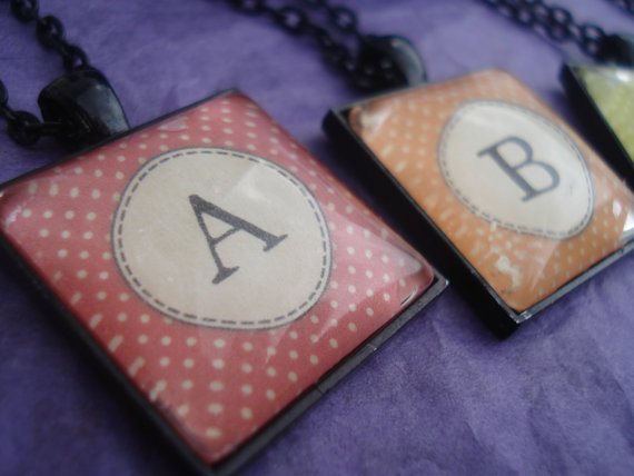 Personalized Initial Glass Pendant with Necklace Monogram andWhite Polka Dots