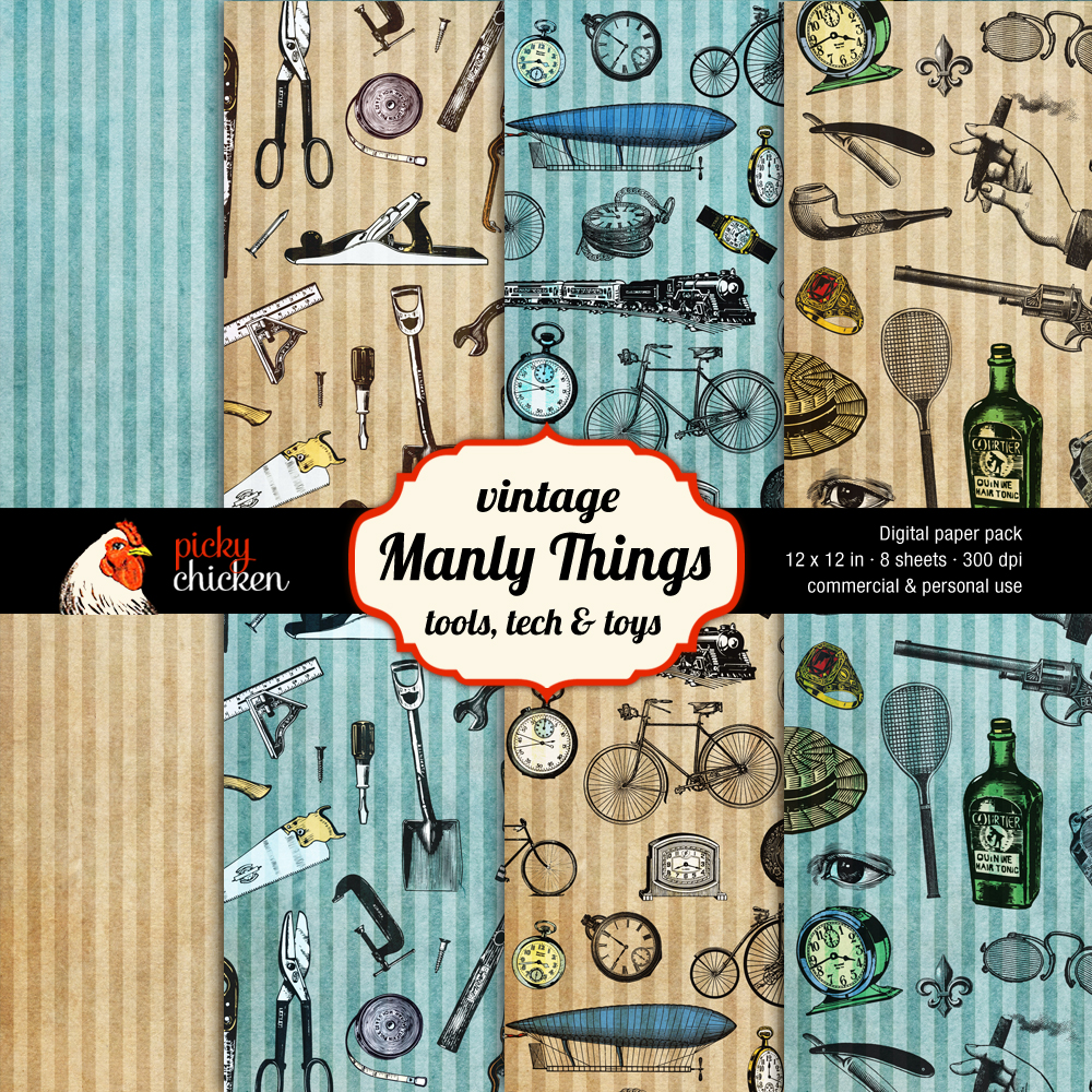Manly Things 12x12 inch scrapbook paper