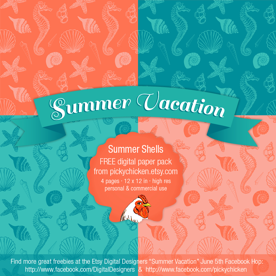 Summer Seashells digital paper from PickyChicken