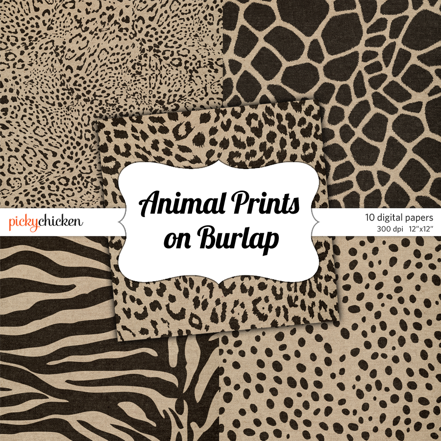 Animal Prints on Burlap Digital Paper from pickychicken