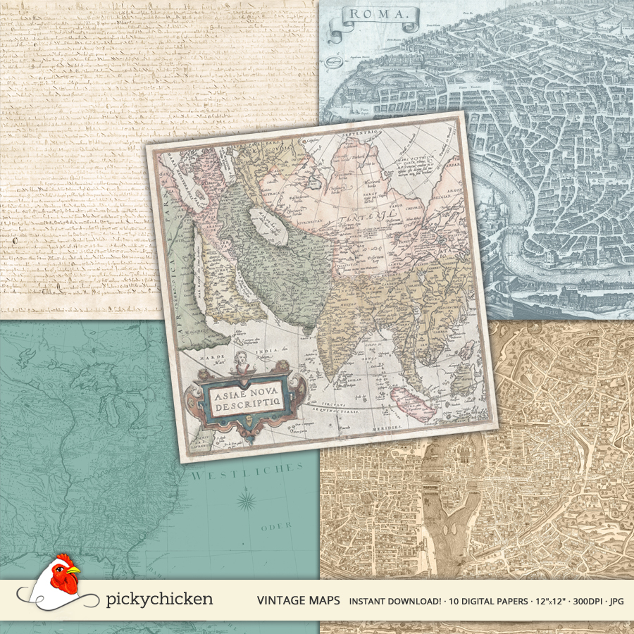 Vintage Maps Digital Paper from PickyChicken