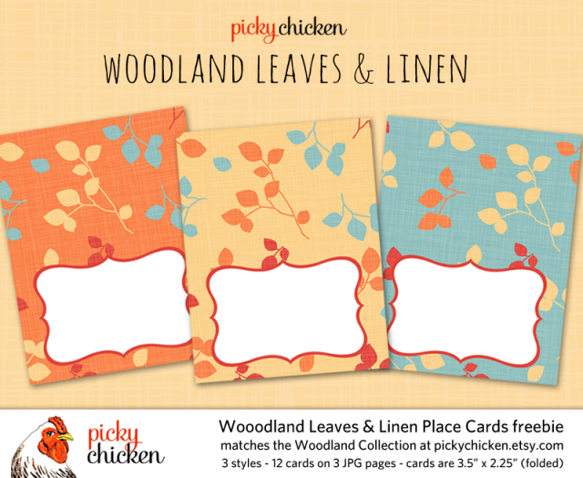 PickyChicken Woodland digital placecards freebie
